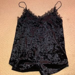 Urban outfitters velvet cami with lace trim